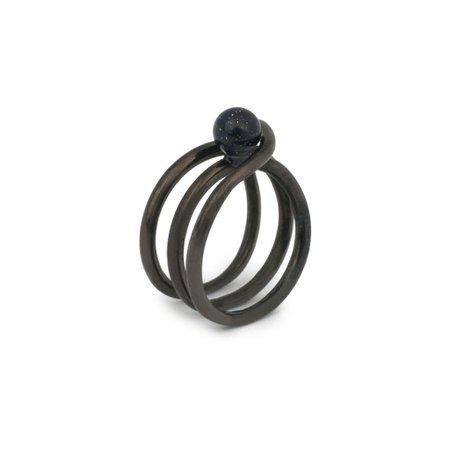 Spiral Midi Ring – Goldstone