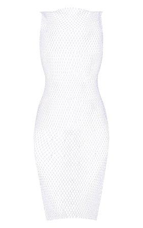 White Diamante Fishnet Mini Dress | Knitwear | PrettyLittleThing USA