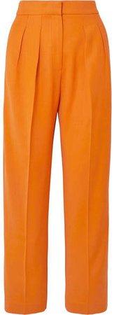 Satin-trimmed Crepe Tapered Pants - Orange