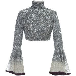 Hussein Bazaza Silk Sequin Cropped Top