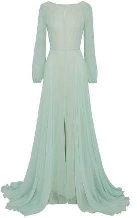 Open-back Tulle-trimmed Silk-georgette Gown