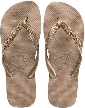 Amazon.com   Havaianas Women's Top Tiras Flip Flop Sandal, Rose Gold, 9-10   Flip-Flops
