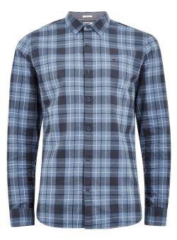 Topman: TOMMY JEANS Blue Flannel Long Sleeve Shirt