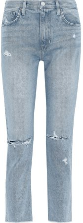 Weslyn Cropped Distressed Mid-rise Slim-leg Jeans