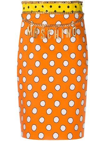 Moschino Polka Dot Logo Skirt - Farfetch