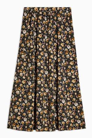 Multi Vintage Floral Tiered Midi Skirt | Topshop