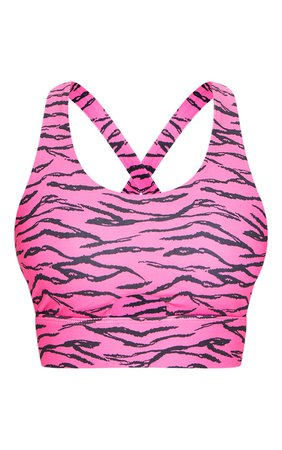 Pink Zebra Cut Out Front Gym Bralet   Active   PrettyLittleThing USA
