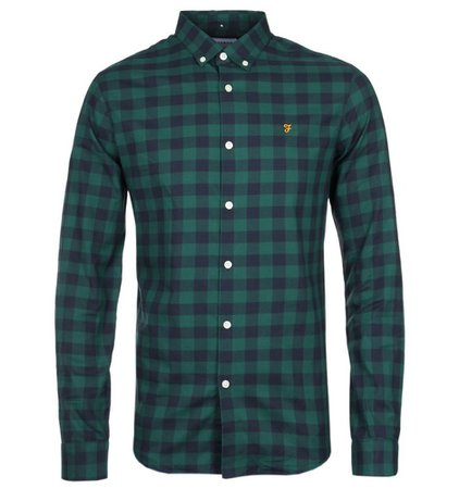 Emerald Green Check Button-Down Shirt Outlet Store