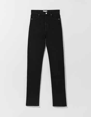 High-rise skinny jeans with slit - Jeans - Woman | Bershka