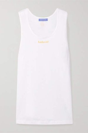 Paradised - Hedonist Printed Cotton-jersey Tank - White