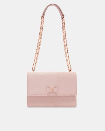 Bow detail leather cross body bag - Light Pink | Bags | Ted Baker