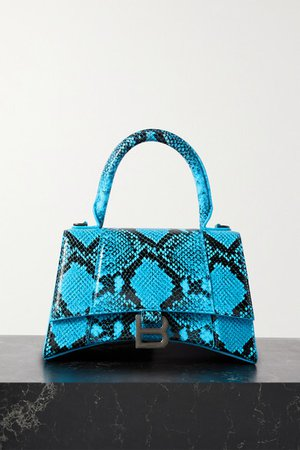 Hourglass Small Python-effect Leather Tote - Blue