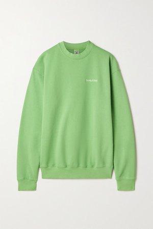 Embroidered Cotton-jersey Sweatshirt - Light green