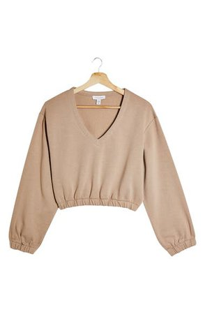 Topshop Crop Sweatshirt (Regular & Petite) | Nordstrom