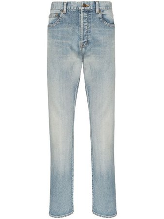 Blue Saint Laurent Straight Leg Faded-Effect Jeans | Farfetch.com