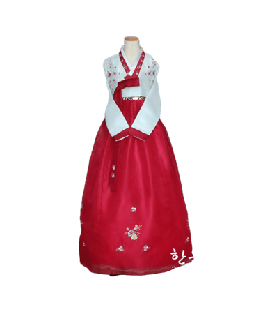 Red and white hanbok 1