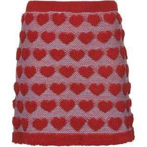 TOPSHOP Plush Heart Knitted Skirt