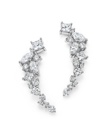 Diamond Fancy Cut Ear Climbers in 14K White Gold, 1.0 ct. t.w. - 100% Exclusive | Bloomingdale's