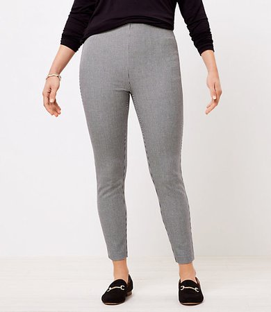 The Petite Curvy Side Zip High Waist Skinny Pant in Puppytooth