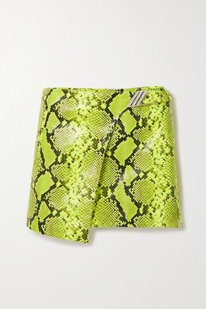 Neon Snake-effect Leather Wrap Mini Skirt - Snake print