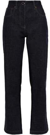Satin-paneled High-rise Straight-leg Jeans
