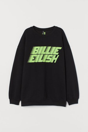 Sweatshirt with Graphic Print - Black/Billie Eilish -   H&M US