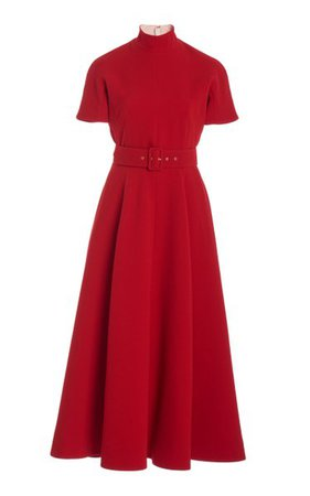 Camilla Belted Pleated Crepe A-Line Dress By Emilia Wickstead | Moda Operandi