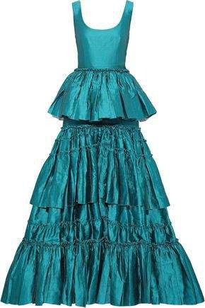 Flared Tiered Linen-blend Taffeta Gown