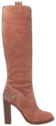 Embroidered Suede Knee Boots
