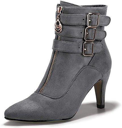 Amazon.com | IDIFU Women's Buckle Strap Ankle Booties 3 Inch Pointed Toe Zipper Heels Dress Jeans Boots | Ankle & Bootie