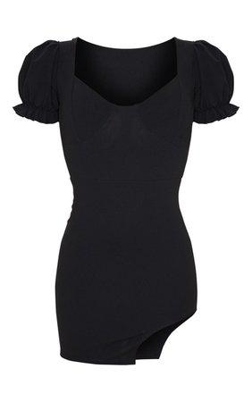 Black Frill Puff Sleeve Curved Split Hem Bodycon Dress | PrettyLittleThing USA