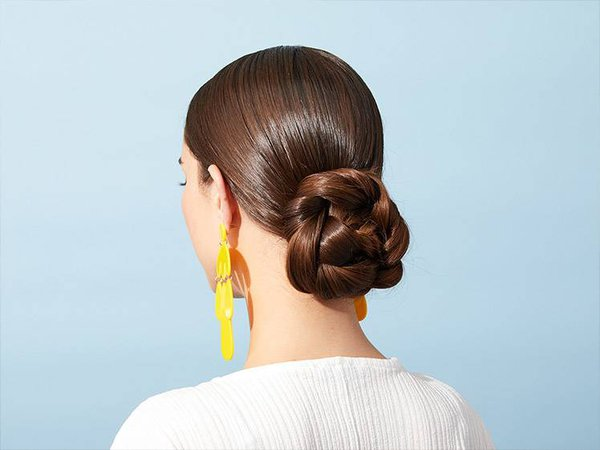 Low Sleek Braided Plat bun