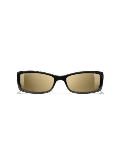 Rectangle Sunglasses, acetate, gold lenses, black - CHANEL