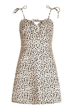 Animal Strappy Tie Bust Aline Mini Dress | boohoo