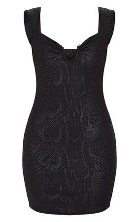 Black Textured V Bar Sleeveless Bodycon Dress | PrettyLittleThing USA