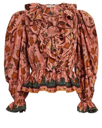 Ulla Johnson Kalila Ruffled Floral Cotton Blouse   INTERMIX®