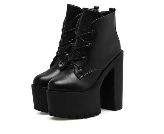 itGirl Shop | HIGH BLACK PLATFORM LACEUP GOTHIC WOMEN BOOTS