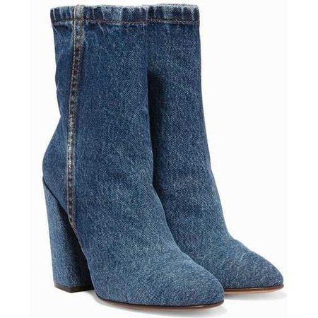 Dries Van Noten Blue Denim Angled Heel Boots
