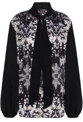 Pussy-bow Cutout Printed Silk Crepe De Chine Blouse
