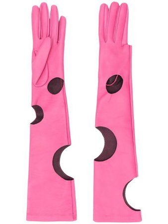 Shop pink Manokhi long cut-out detail gloves with Express Delivery - Farfetch