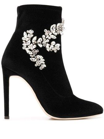 Black Giuseppe Zanotti Celeste Velvet Boots | Farfetch.com