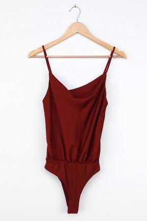 Burgundy Satin Bodysuit - Cowl Neck Bodysuit - Cami Bodysuit - Lulus