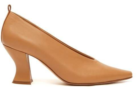 Block Heel Leather Pumps - Womens - Nude
