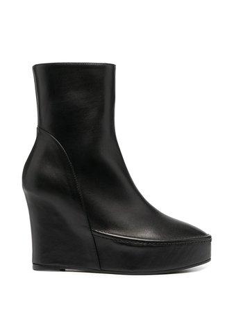 Ann Demeulemeester wedge heel ankle boots black 20022912363099 - Farfetch