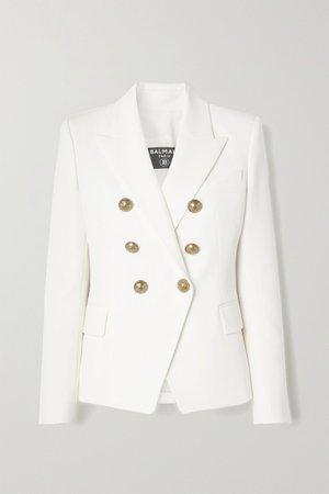Cream Double-breasted wool blazer   Balmain   NET-A-PORTER