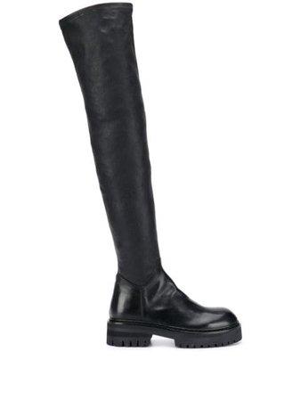 Black Ann Demeulemeester thigh-high boots 20142876384099 - Farfetch