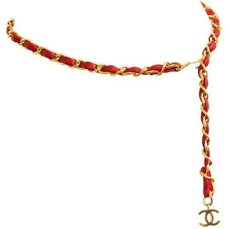 Chanel CC Signature Gold Chain Belt Red Vintage (€540)
