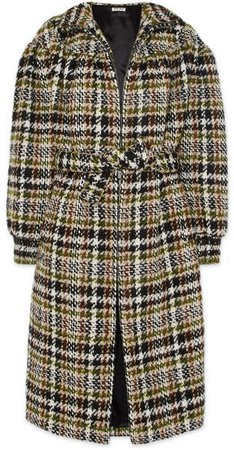 Checked Wool-blend Bouclé Coat - Brown