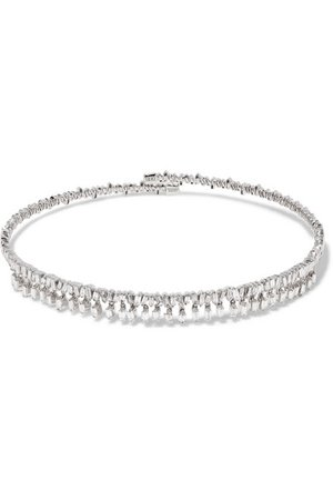 Suzanne Kalan | 18-karat white gold diamond choker | NET-A-PORTER.COM