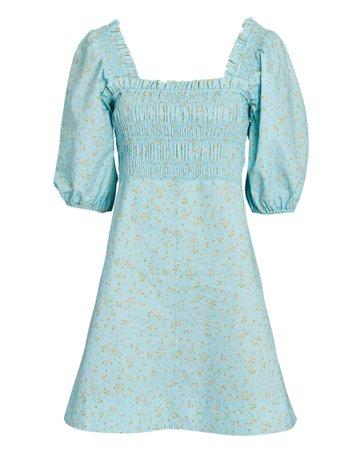 GANNI Smocked Floral Cotton Mini Dress   INTERMIX®